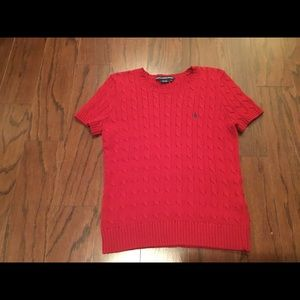 Ralph Lauren Sport red s/s cable sweater M
